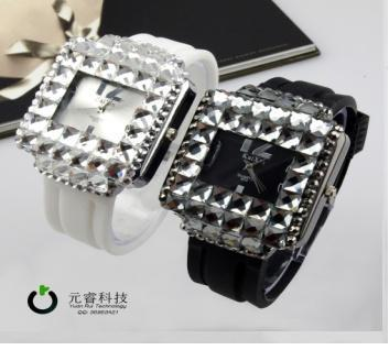 Sparkling Glass Silicone Watch